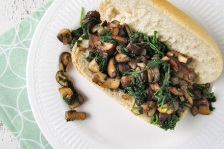 gebakken champignons met spinazie